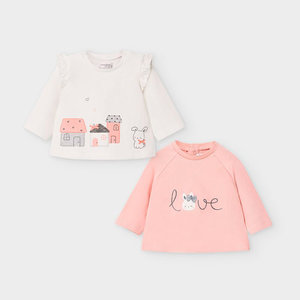 Mayoral Set of two long sleeved t-shirts for newborn girl