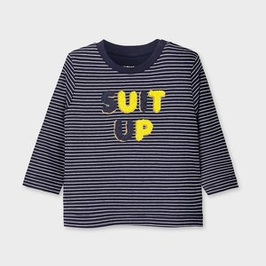 Mayoral Long sleeved striped t-shirt with letters for baby boy bleu